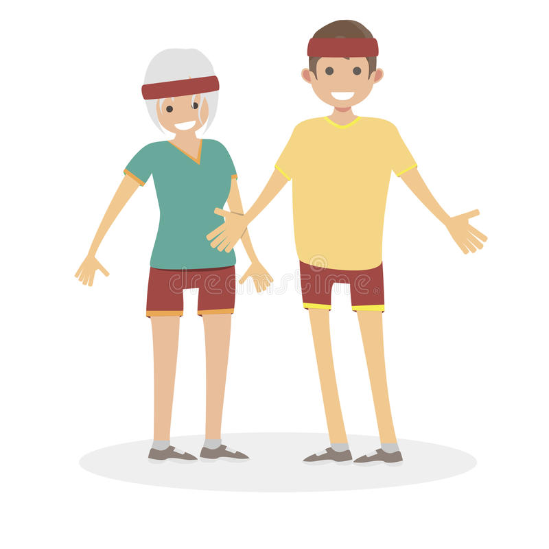 Męża i żony atleta biegać dla jog Męscy i żeńscy biegacze Charakter wektorowej płaskiej ilustraci ludzie royalty ilustracja