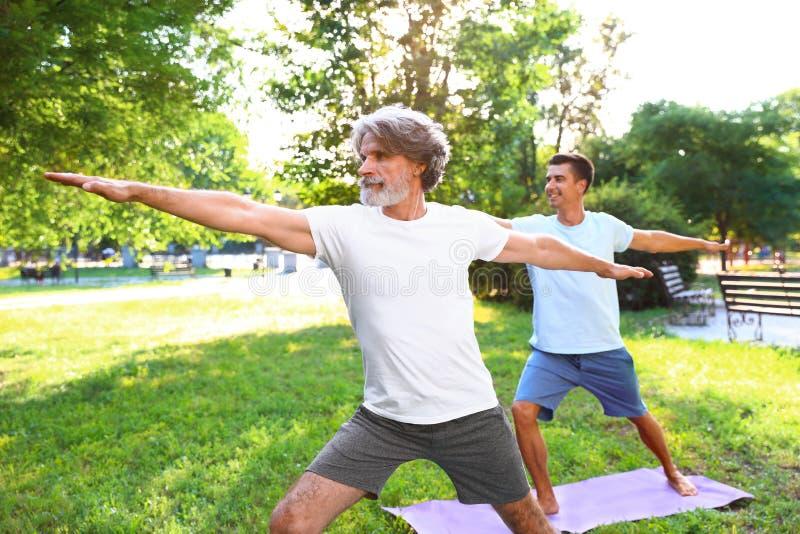 Mężczyźni ćwiczy ranku joga w parku zdjęcie royalty free