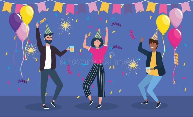 Mężczyźni i kobieta taniec z partyjnym sztandarem ilustracji