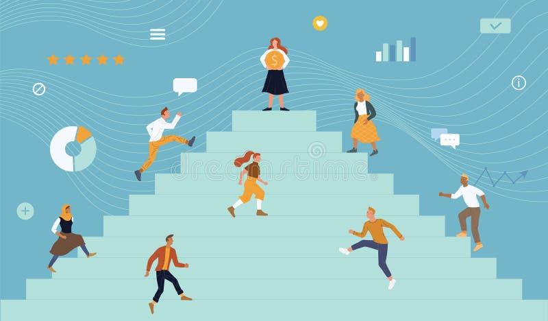 Mężczyźni, kobiety w różnym wieku, narody dążą do celu, nagroda pieniężna na górze schodów Konkurs na wpływ ilustracji