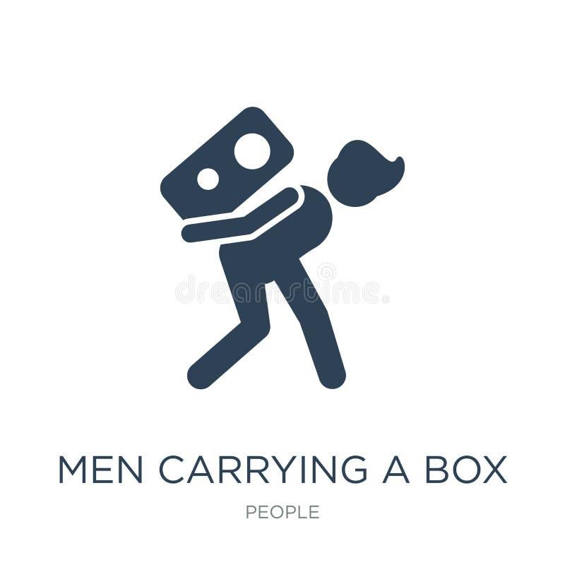 mężczyźni niesie pudełkowatą ikonę w modnym projekcie projektują mężczyźni niesie pudełkowatą ikonę odizolowywającą na białym tle royalty ilustracja