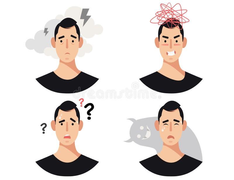 Mężczyźni przewodzą z choroby psychicznej, nieład, nadszarpnięć, psychiatrycznych lub psychologicznych problemami, ilustracja wektor