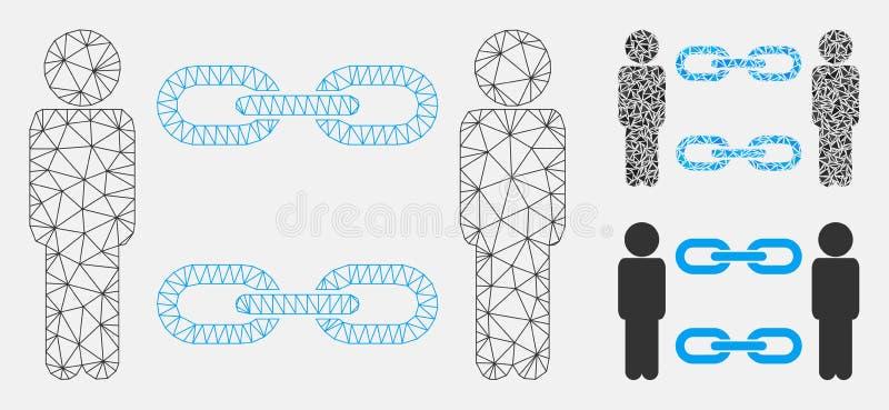 Mężczyzn łańcuchów Wektorowej siatki trójboka i modela mozaiki 2D ikona ilustracji