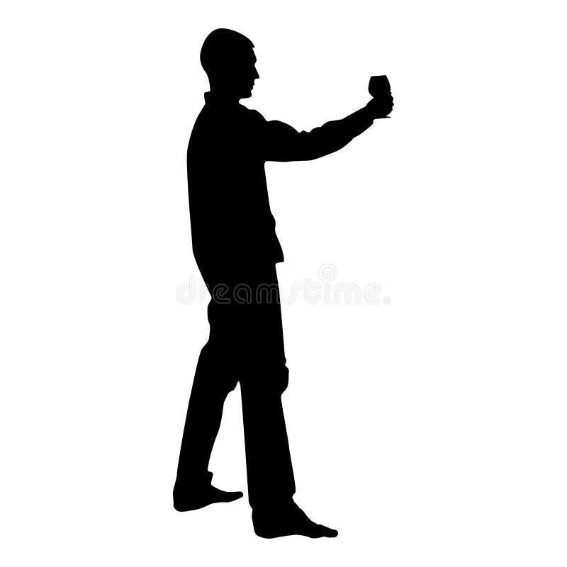 Mężczyzn chwyty w długim ręki szkle wino wokoło robić grzance Wakacyjnemu pojęcie ikony czerni kolorowi wektorowy ilustracyjny mi ilustracji