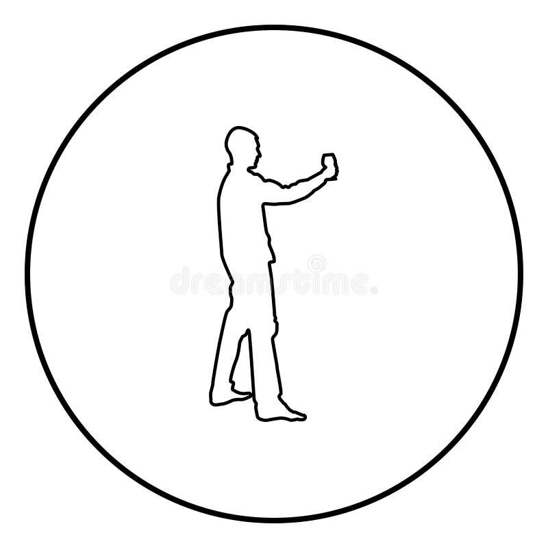 Mężczyzn chwyty w długim ręki szkle wino wokoło robić grzance Wakacyjnemu pojęcie ikony konturu czerni koloru wektorowi w okręgu  ilustracji