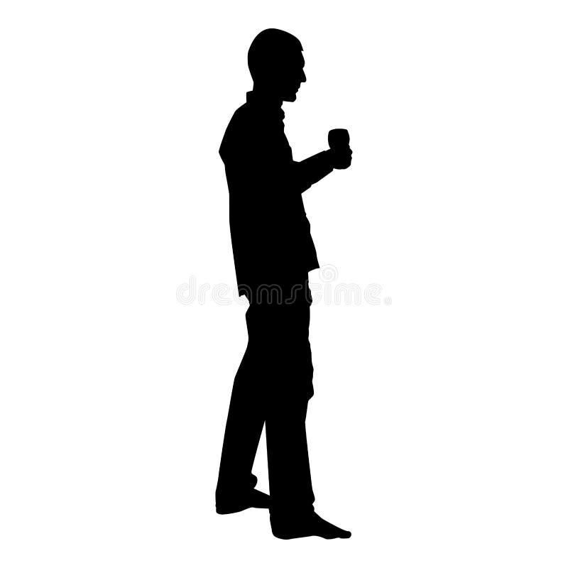 Mężczyzn chwyty w ręki szkle wino wokoło robić grzance Wakacyjnemu pojęcie ikony czerni kolorowi wektorowy ilustracyjny mieszkani ilustracja wektor