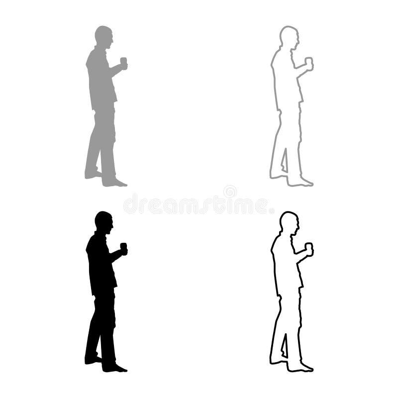 Mężczyzn chwyty w ręki szkle wino wokoło robić grzance Wakacyjnemu pojęcie ikony setowi siwieją czarnego kolor ilustracji konturu ilustracja wektor