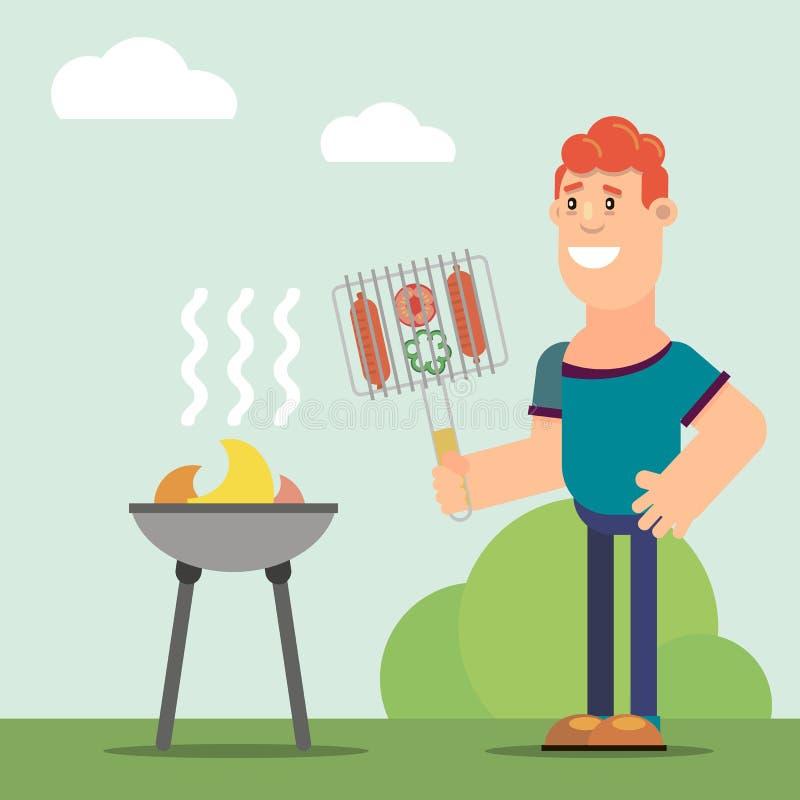 Mężczyzn kucharzi na grillu ilustracja wektor
