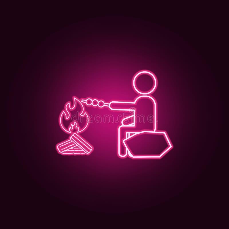 Mężczyzn kucharzi przy tyczną neonową ikoną Elementy turizm set Prosta ikona dla stron internetowych, sie? projekt, mobilny app,  ilustracja wektor
