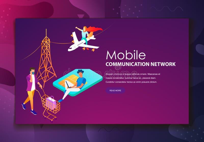 Mężczyzn pracownicy używa nowożytne komunikacji mobilnych technologie ilustracja wektor