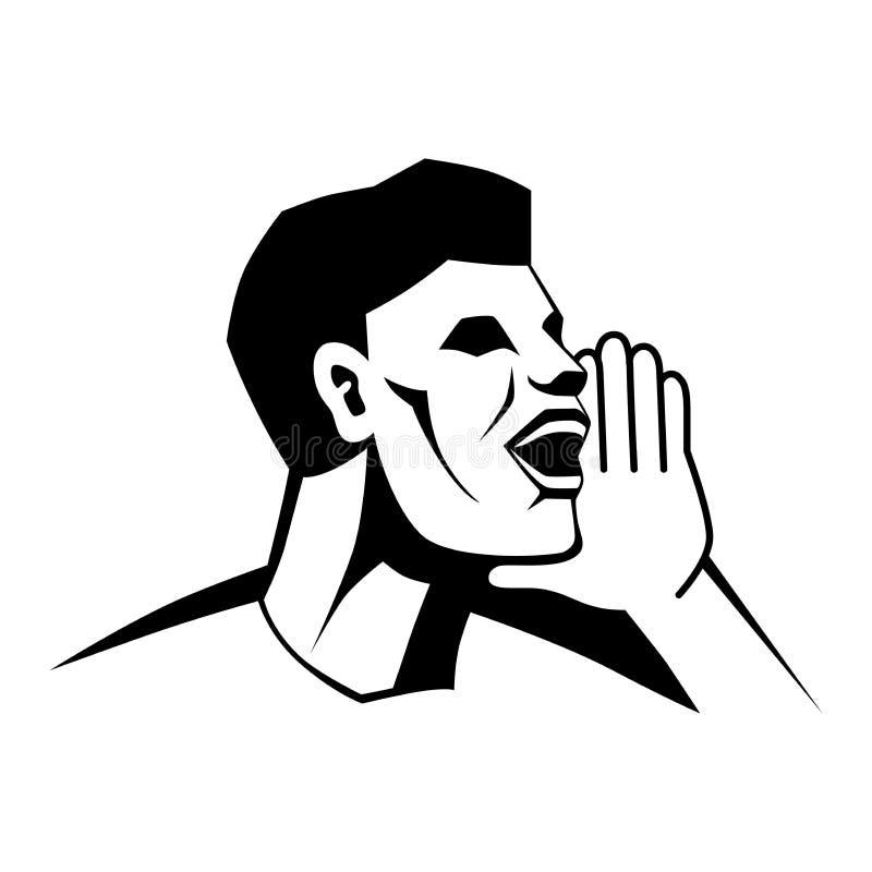 Mężczyzn wezwania Mężczyzna wrzaski sylwetka emblemat wektor ilustracja wektor