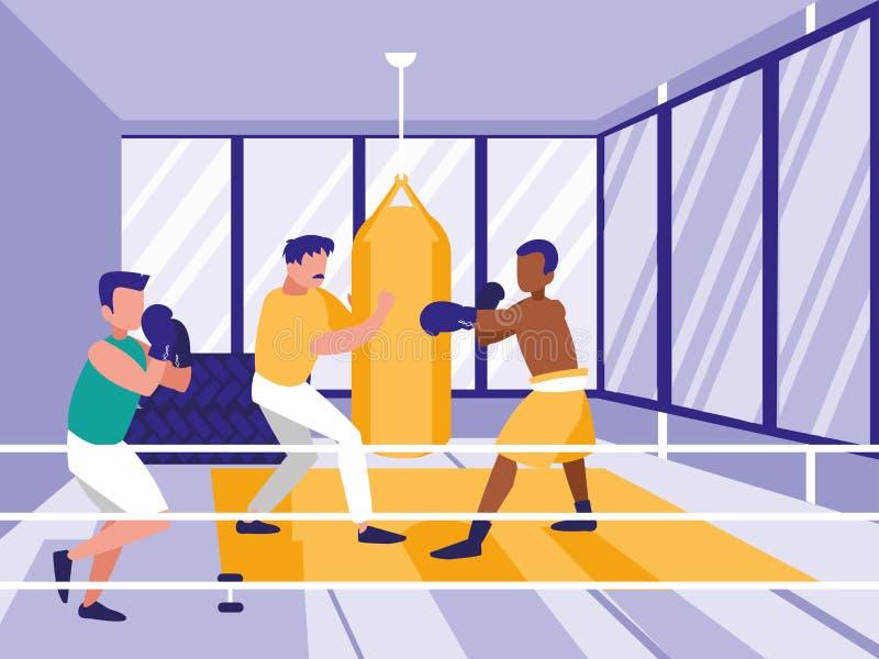 Mężczyzna ćwiczy boksować w gym royalty ilustracja