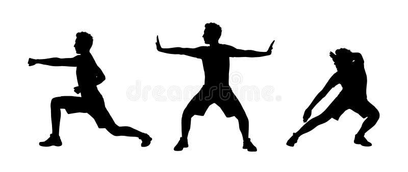Mężczyzna ćwiczy tai chi sylwetki ustawia 1 ilustracji