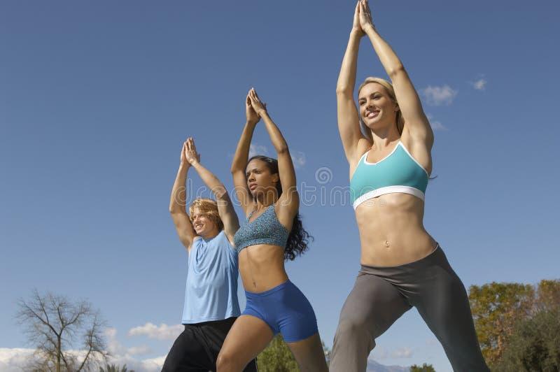 Mężczyzna Ćwiczy Z Dwa kobietami W parku zdjęcia royalty free