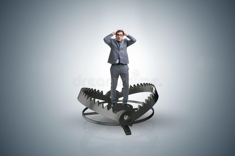 Mężczyzna łapiący w mysz oklepu w ryzyko biznesu pojęciu ilustracja wektor