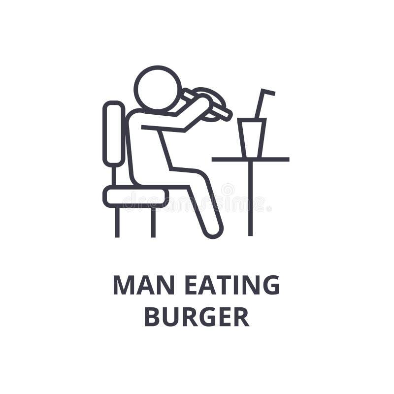 Mężczyzna łasowania hamburgeru linii ikona, konturu znak, liniowy symbol, wektor, płaska ilustracja royalty ilustracja