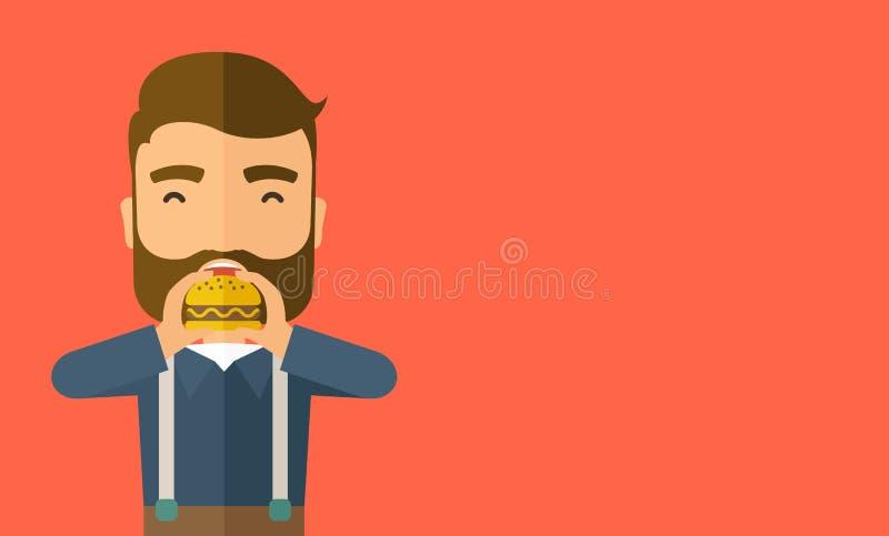 Mężczyzna łasowania szczęśliwy hamburger ilustracja wektor