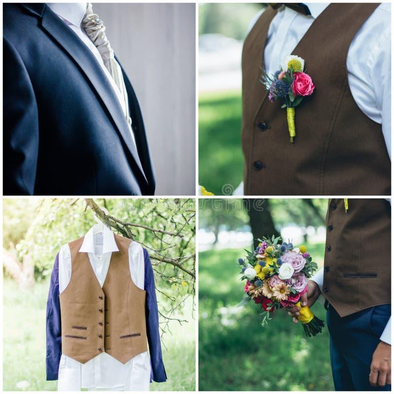 Mężczyzna ślubu kostiumu kolaż - elegancki fornal nadaje się obraz royalty free