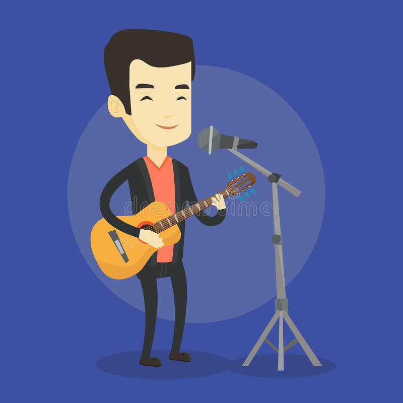Mężczyzna śpiew w mikrofonie i bawić się gitarze ilustracja wektor