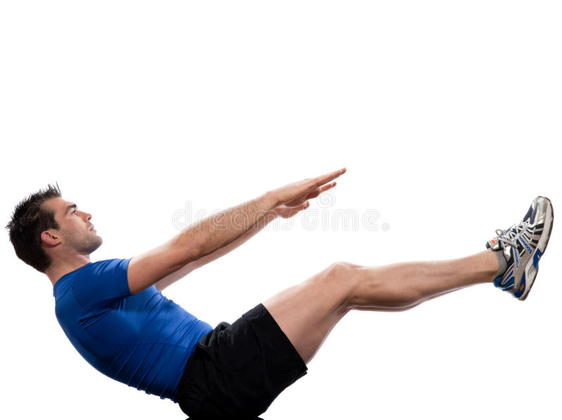Mężczyzna Abdominals ciała paripurna navasana pozy łódkowaty joga obrazy royalty free