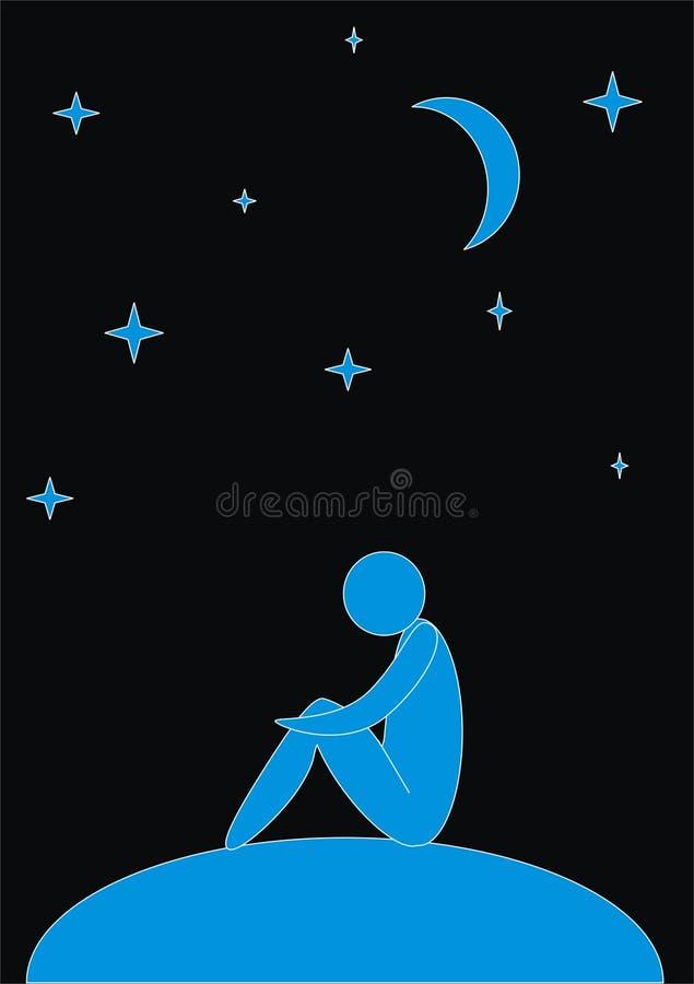 mężczyzna abstrakcjonistyczna noc ilustracja wektor