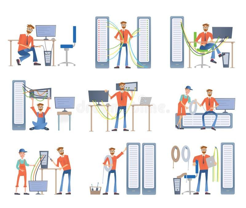 Mężczyzna angażują w naprawie i utrzymaniu serwery i komputery Administratorzy systemu abstrakcjonistycznych tła błękitny guzika  royalty ilustracja