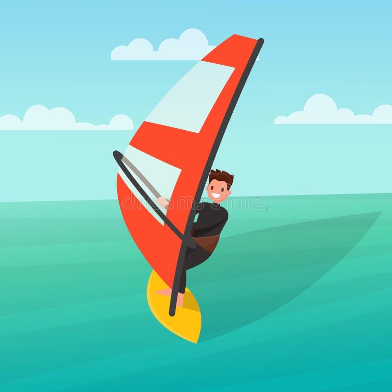 Mężczyzna angażuje w windsurfing również zwrócić corel ilustracji wektora ilustracji