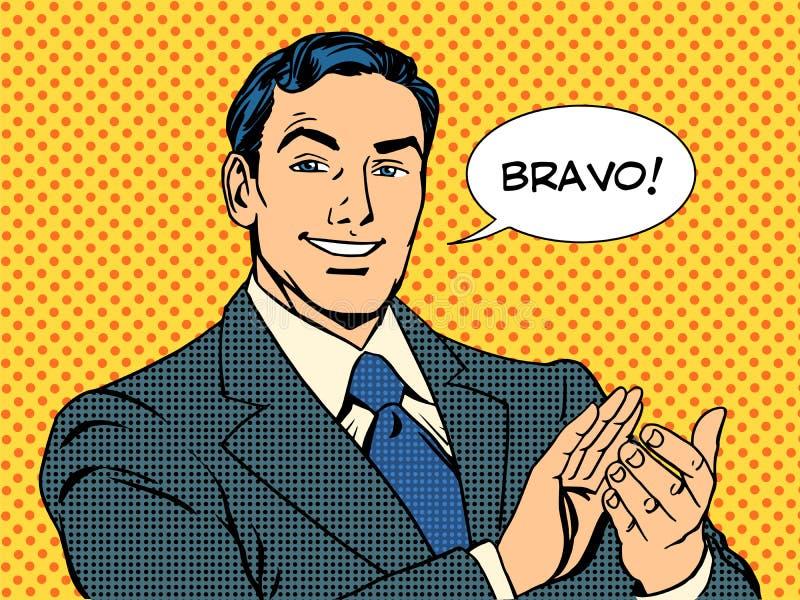 Mężczyzna aplauzu bravo pojęcie sukces ilustracja wektor