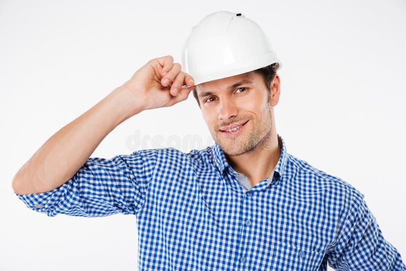 Mężczyzna architekt w budynku hełmie fotografia stock