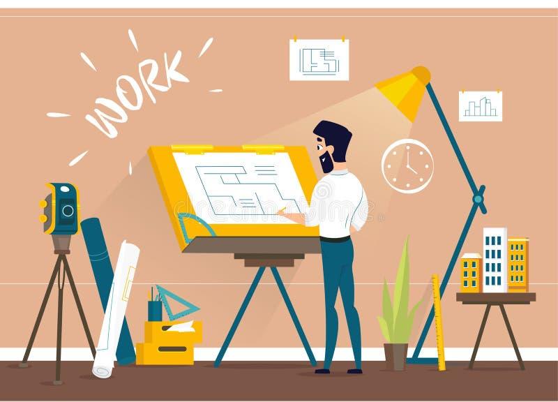 Mężczyzna architekta rysunku domu projekta podłogowy plan przy draftsman studiiem z rysunkowym biurkiem ilustracji