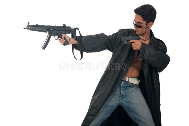mężczyzna armatni przystojny rzemienny deszczowiec zdjęcia stock