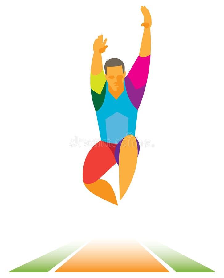 Mężczyzna atlety długa bluza robi skok w dal royalty ilustracja
