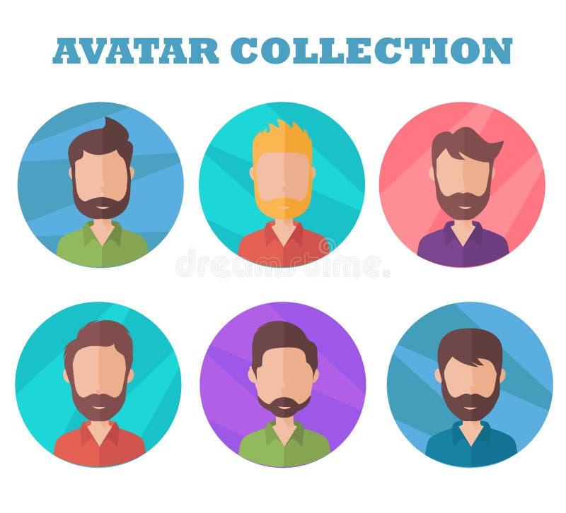 Mężczyzna avatar kolekcja Profilowy obrazek w mieszkanie stylu ilustracja wektor