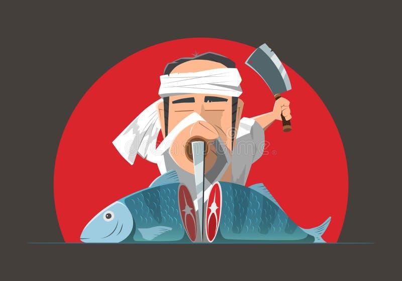 Mężczyzna azjata kucharza szefa kuchni kucharstwa japońska ryba lub suszi royalty ilustracja