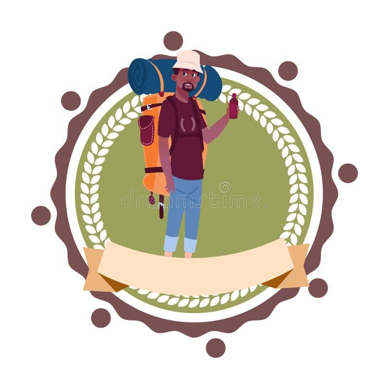 Mężczyzna Backpacker amerykanina afrykańskiego pochodzenia podróż Z plecakiem Wycieczkuje ikona szablon Odizolowywającego ilustracji