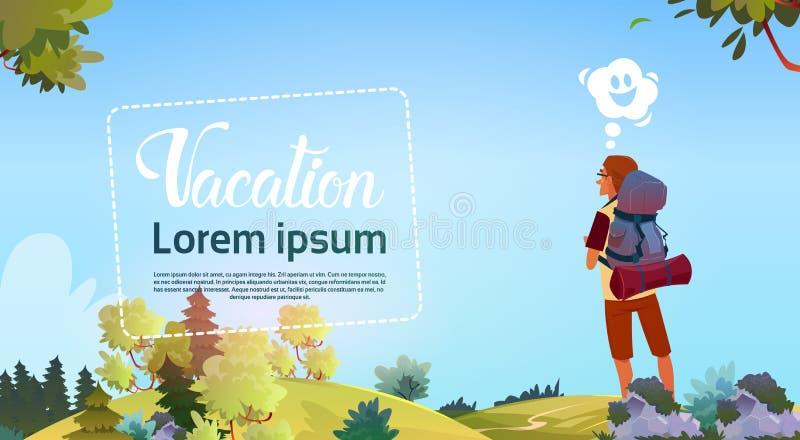 Mężczyzna Backpacker Cieszy się widok jesieni Lasowego podróżnika Wycieczkuje Na przygoda wakacje pojęciu ilustracji