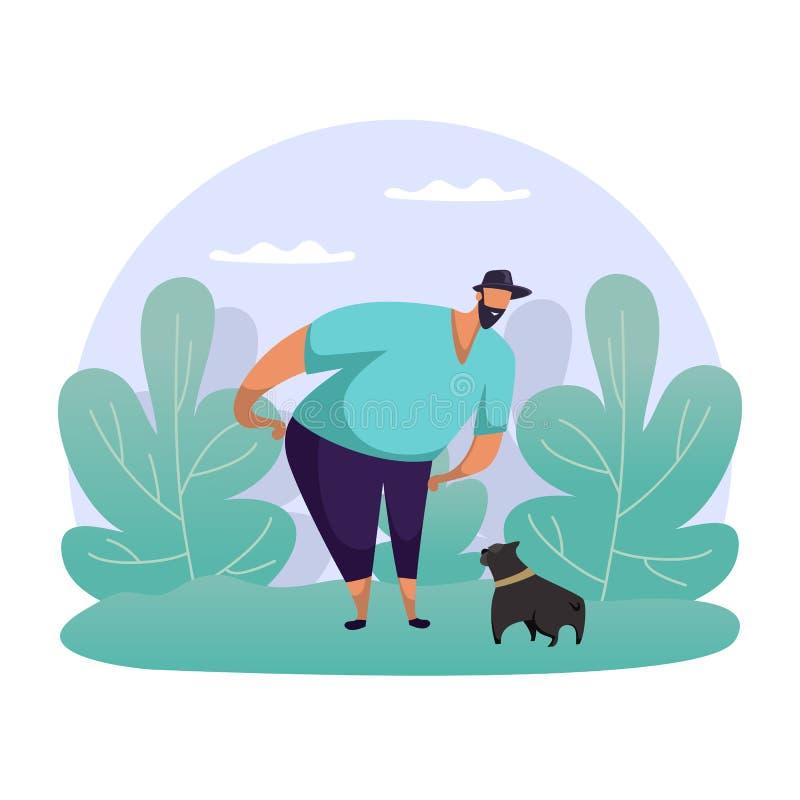 Mężczyzna bawiący się z psem Płaski facet przechadza się ze zwierzęciem royalty ilustracja