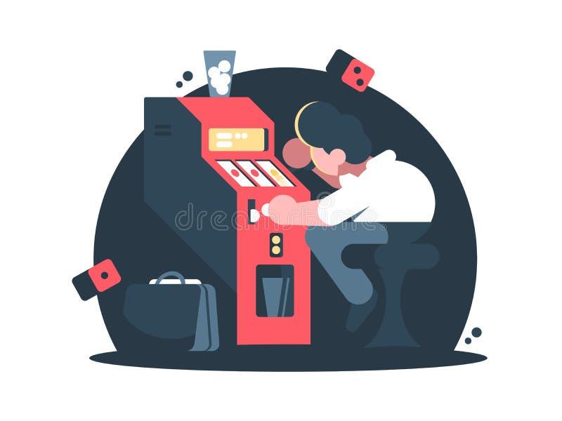 Mężczyzna bawić się automat do gier w kasynie ilustracja wektor