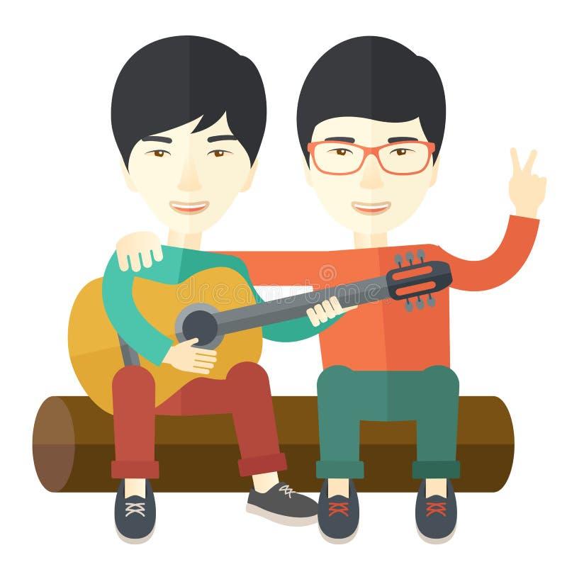 Mężczyzna bawić się gitarę royalty ilustracja