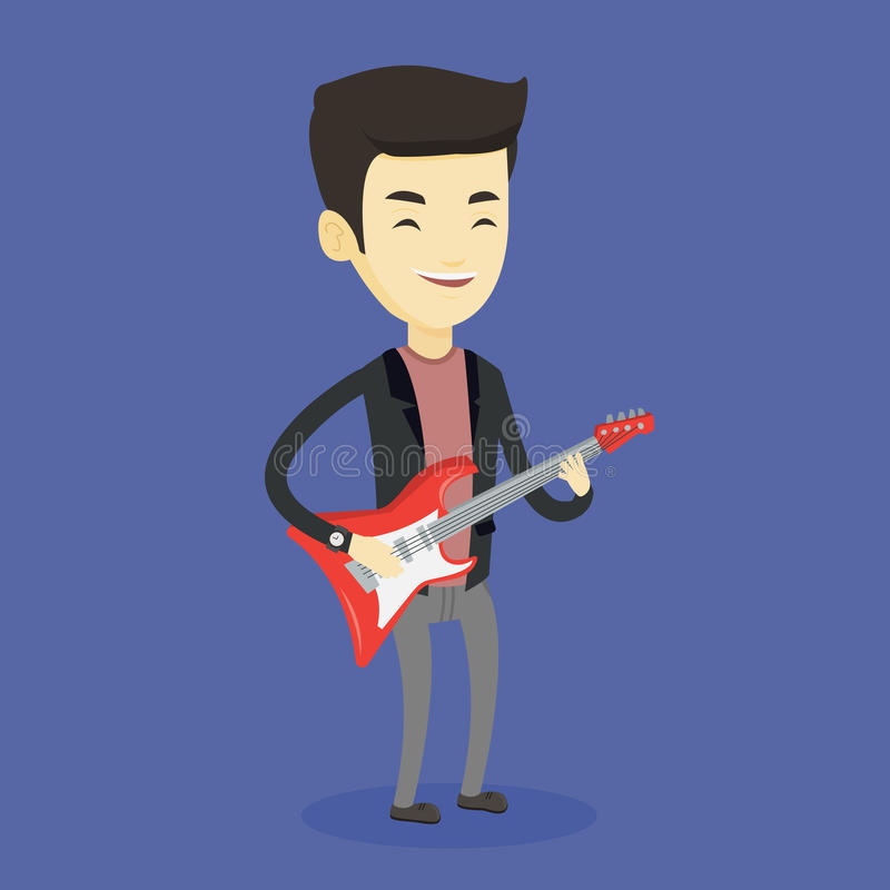 Mężczyzna bawić się gitara elektryczna wektoru ilustrację ilustracji