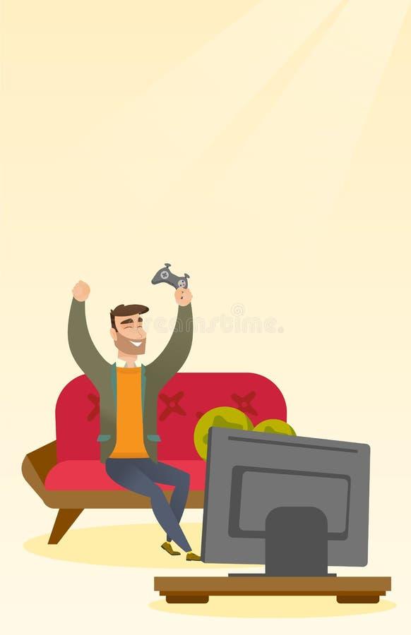 Mężczyzna bawić się wideo gry wektoru ilustrację royalty ilustracja