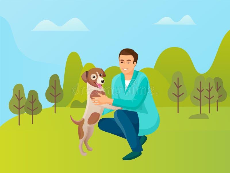 Mężczyzna Bawić się z zwierzęciem domowym, samiec i psem w lasu parku, royalty ilustracja