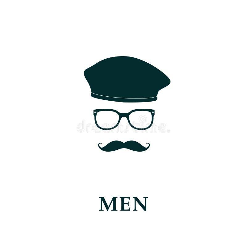 Mężczyzna bereta i wąsy francuska ikona ilustracja wektor