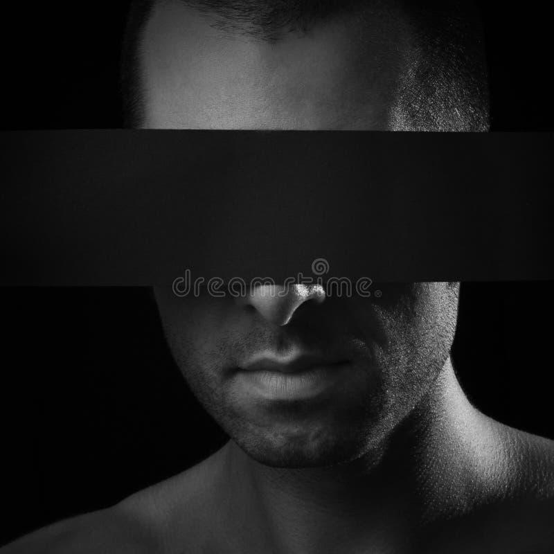 Mężczyzna bez oczu, ślepota. obrazy royalty free