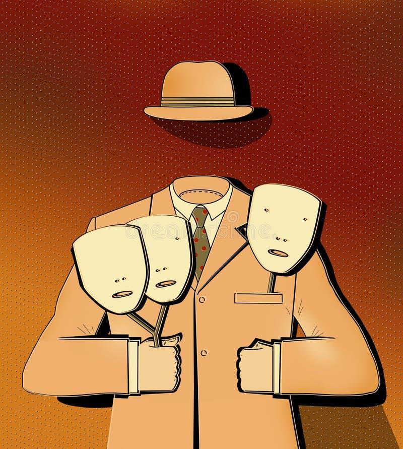 Mężczyzna bez twarzy trzyma 3 maski w rękach Klasyczny garnitur i kapelusz biznesmena Obraz surrealistyczny ilustracja wektor
