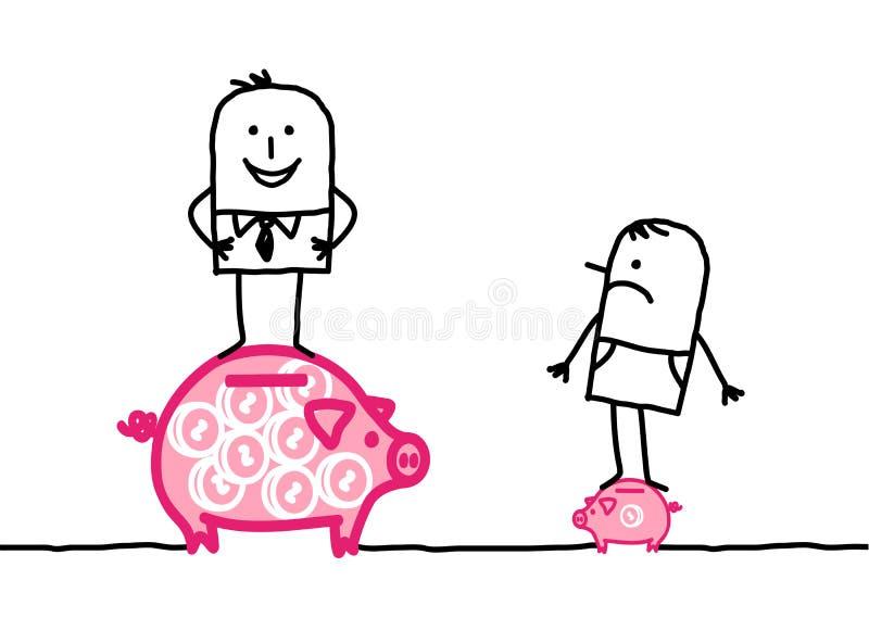mężczyzna biedy bogactwo ilustracji