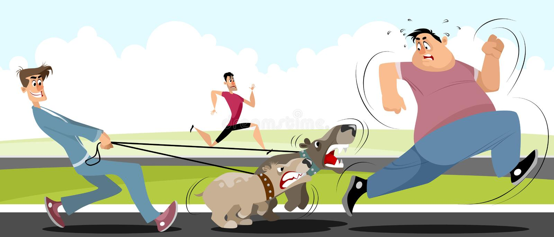 Mężczyzna bieg zdala od psów royalty ilustracja