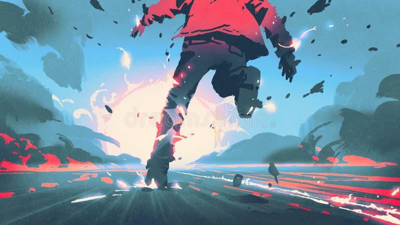 Mężczyzna biega słońce ilustracji