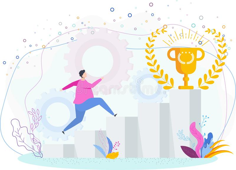 Mężczyzna biega w górę drabiny sukces filiżanka zwycięzca ilustracja wektor
