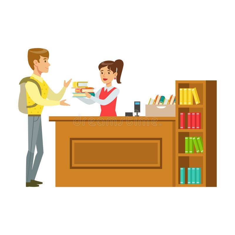 Mężczyzna Bierze książki Dla Bibliotekarskiej, Uśmiechniętej osoby W Bibliotecznej Wektorowej ilustraci, ilustracja wektor